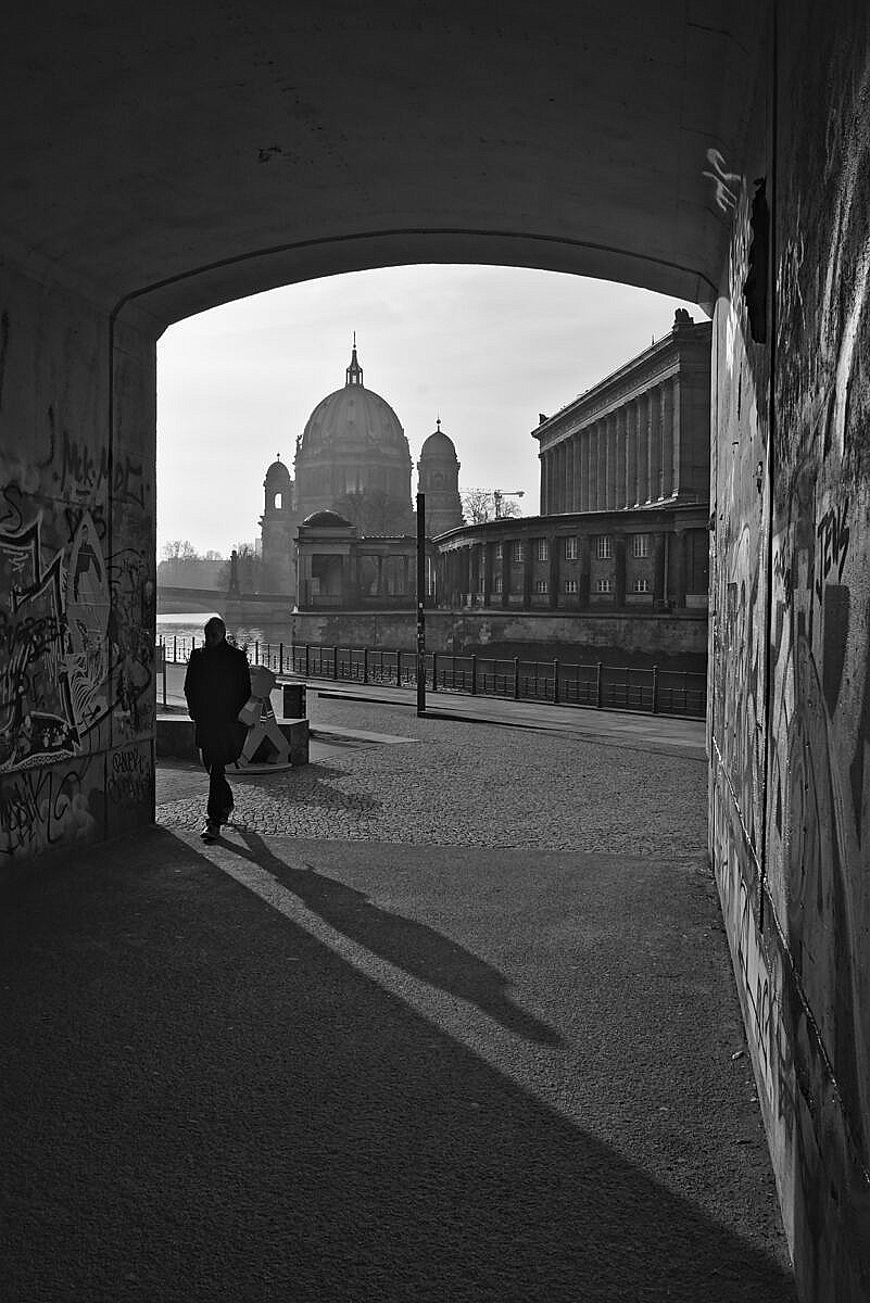 View of the Berliner Dom from an underpassage leading into the James-Simon park along the Spree in Berlin