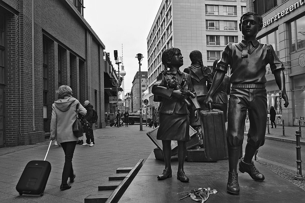 Monument commemorating the people taken to the kz camps by train from the Friedrichstrasse station in Berlin.