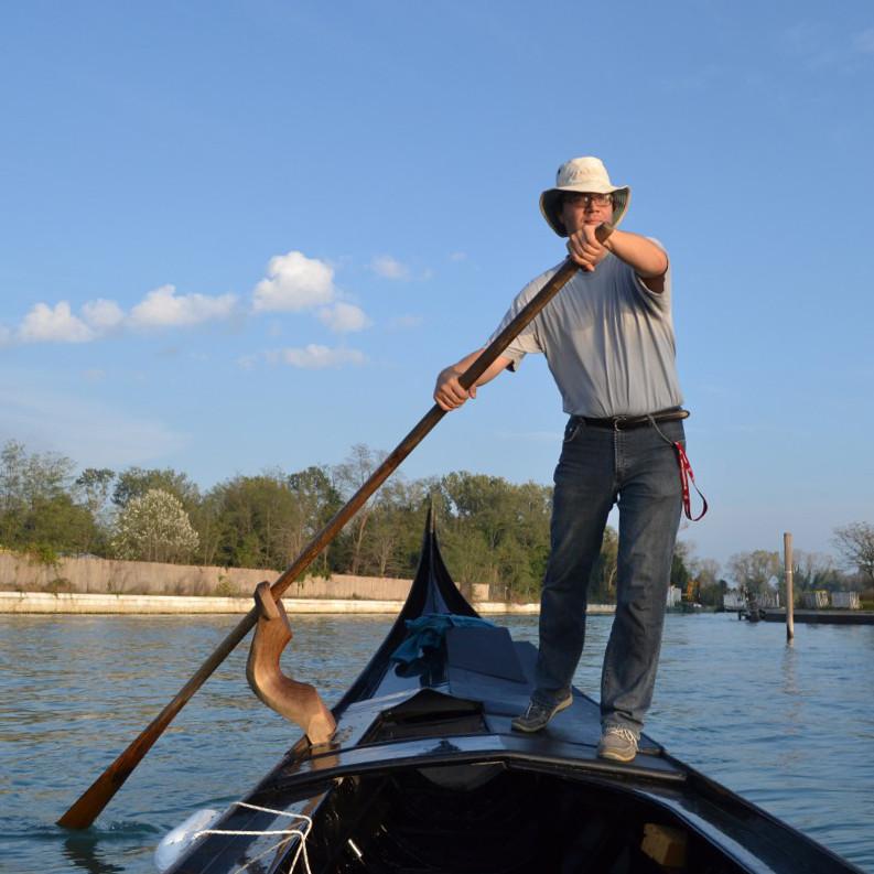 René Seindal rowing a gondola