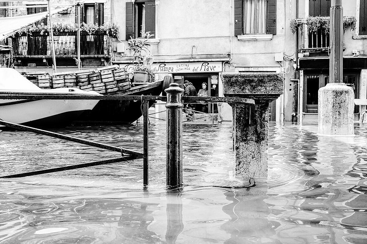 High tide - Venice under water - Via Garibaldi flooded