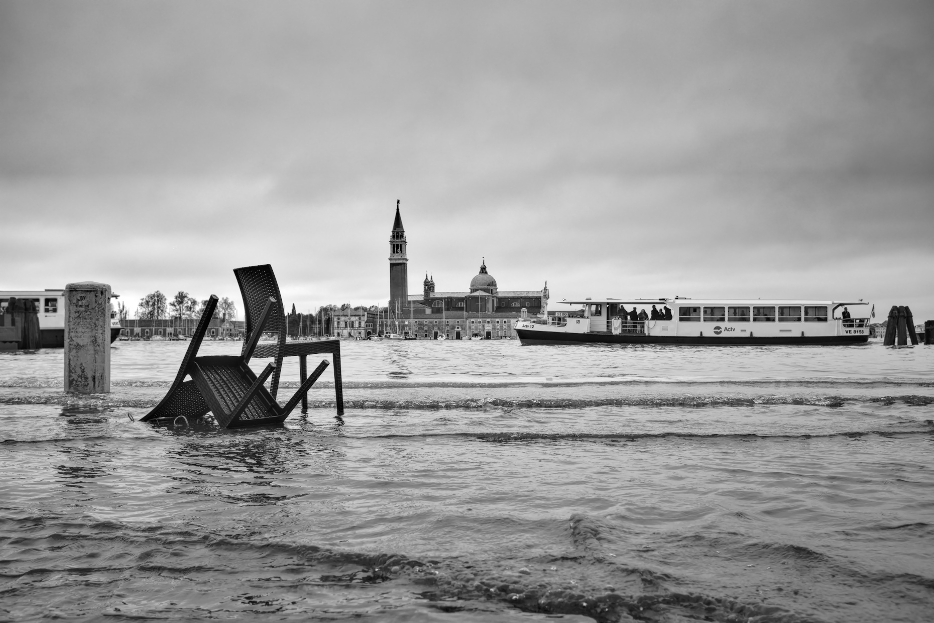 High tide in Venice - abandoned furniture