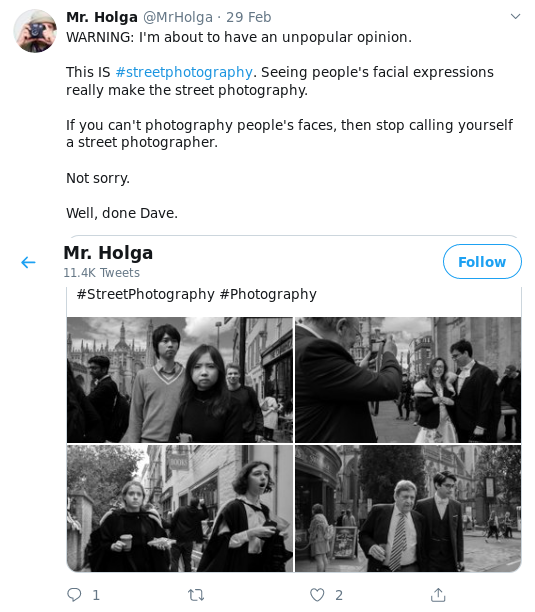 "Mr Holga complaining about ""street photography"""