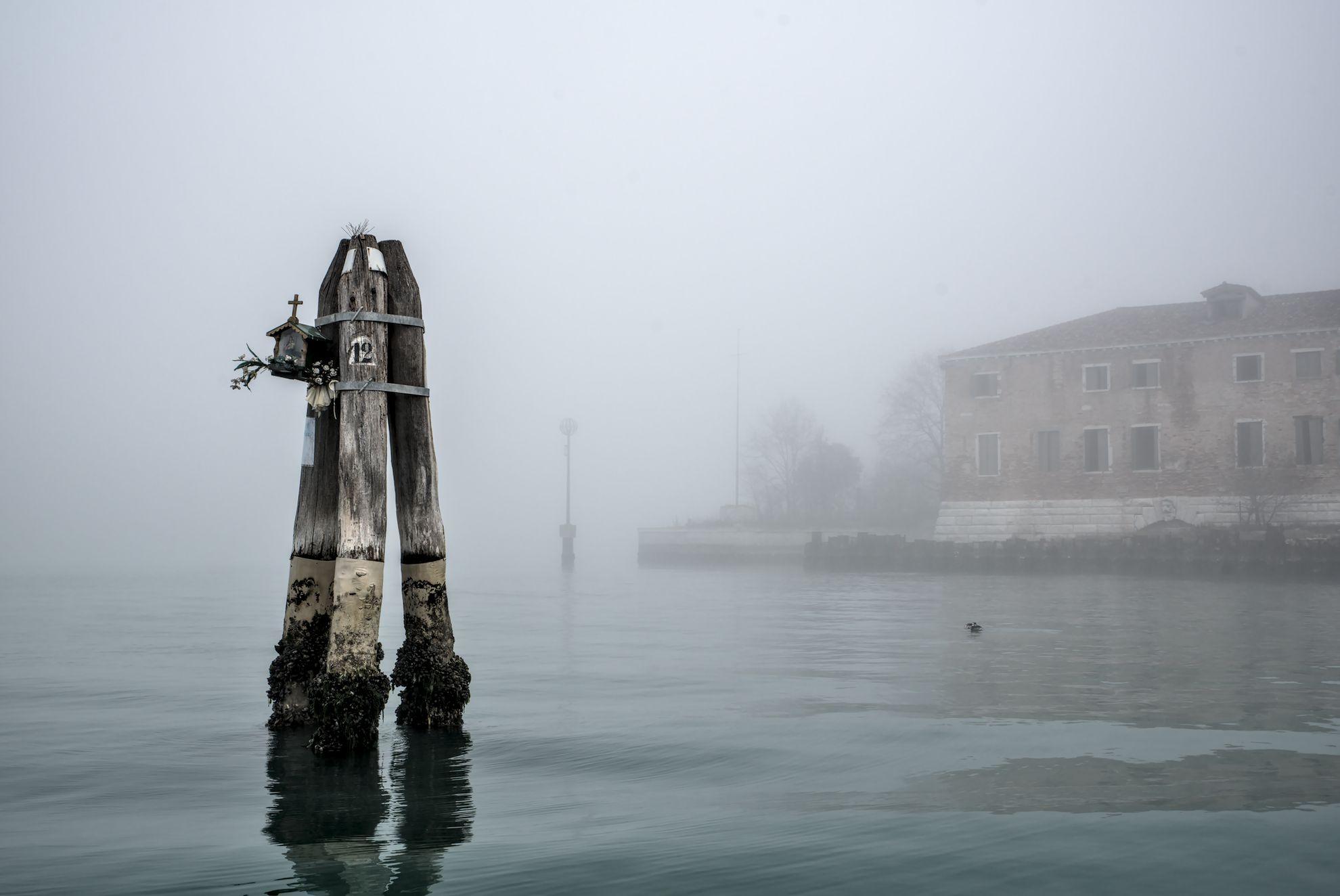 The Venetian lagoon on the fog - briccola with altar