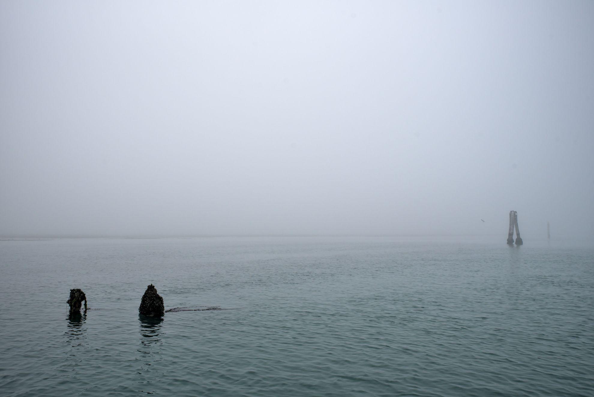 The Venetian lagoon on the fog - broken briccola