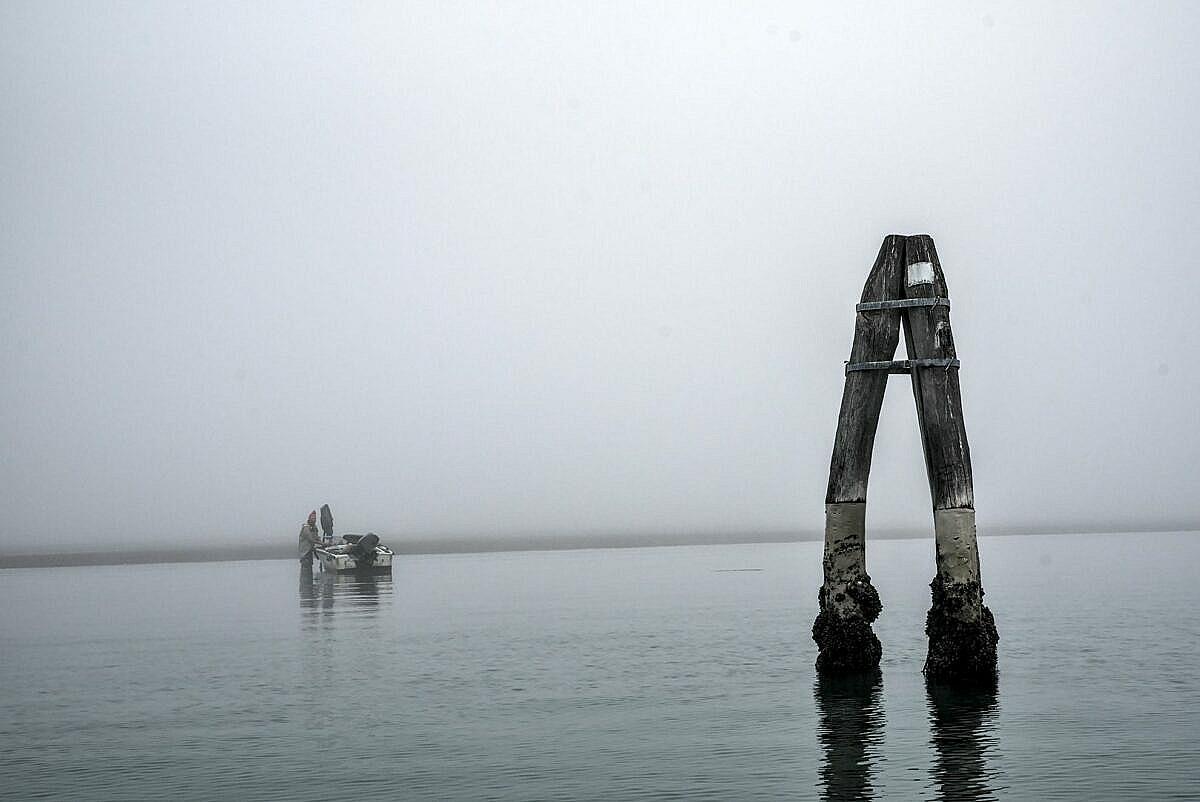 The Venetian lagoon on the fog - fisherman