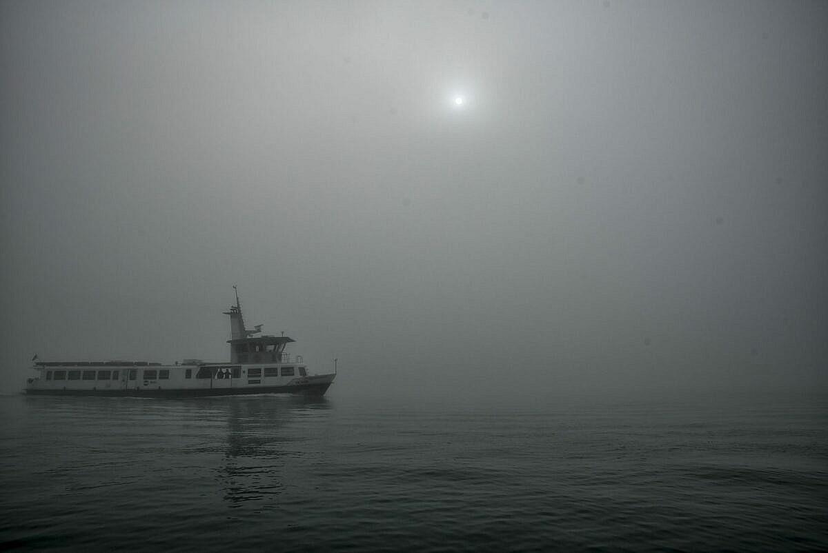 The Venetian lagoon on the fog - motonave