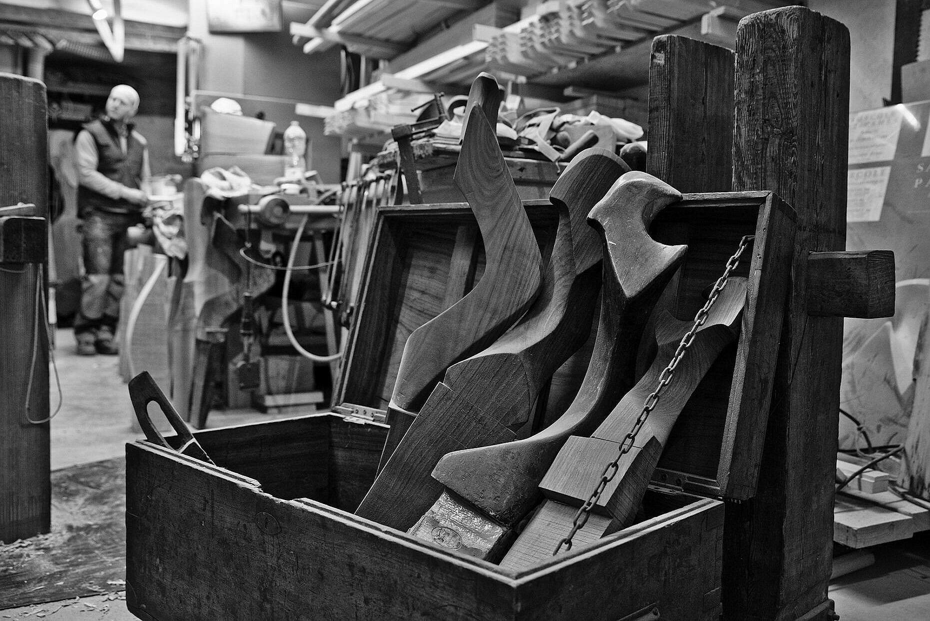 A crate of forcole (oarlocks) in Saverio Pastor's workshop