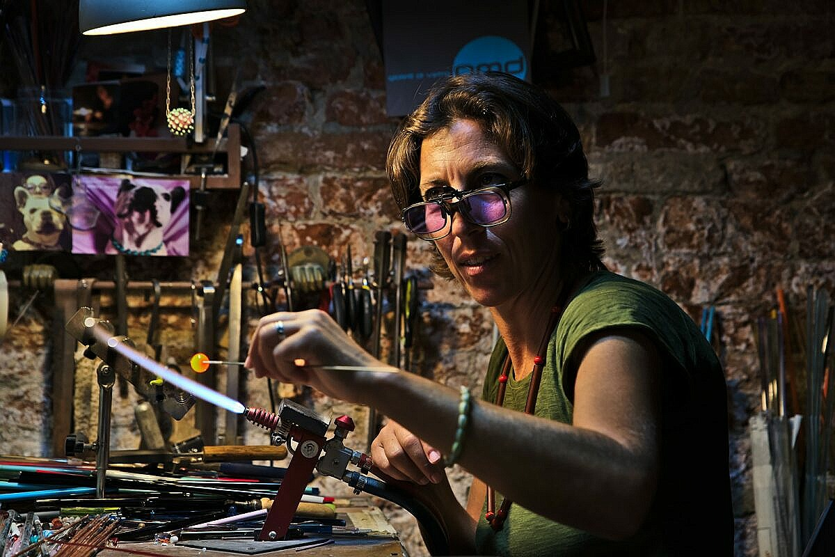 Simo Iacovvizi makes Venetian glass beads by hand in her workshop close to Campo San Barnaba in Venice
