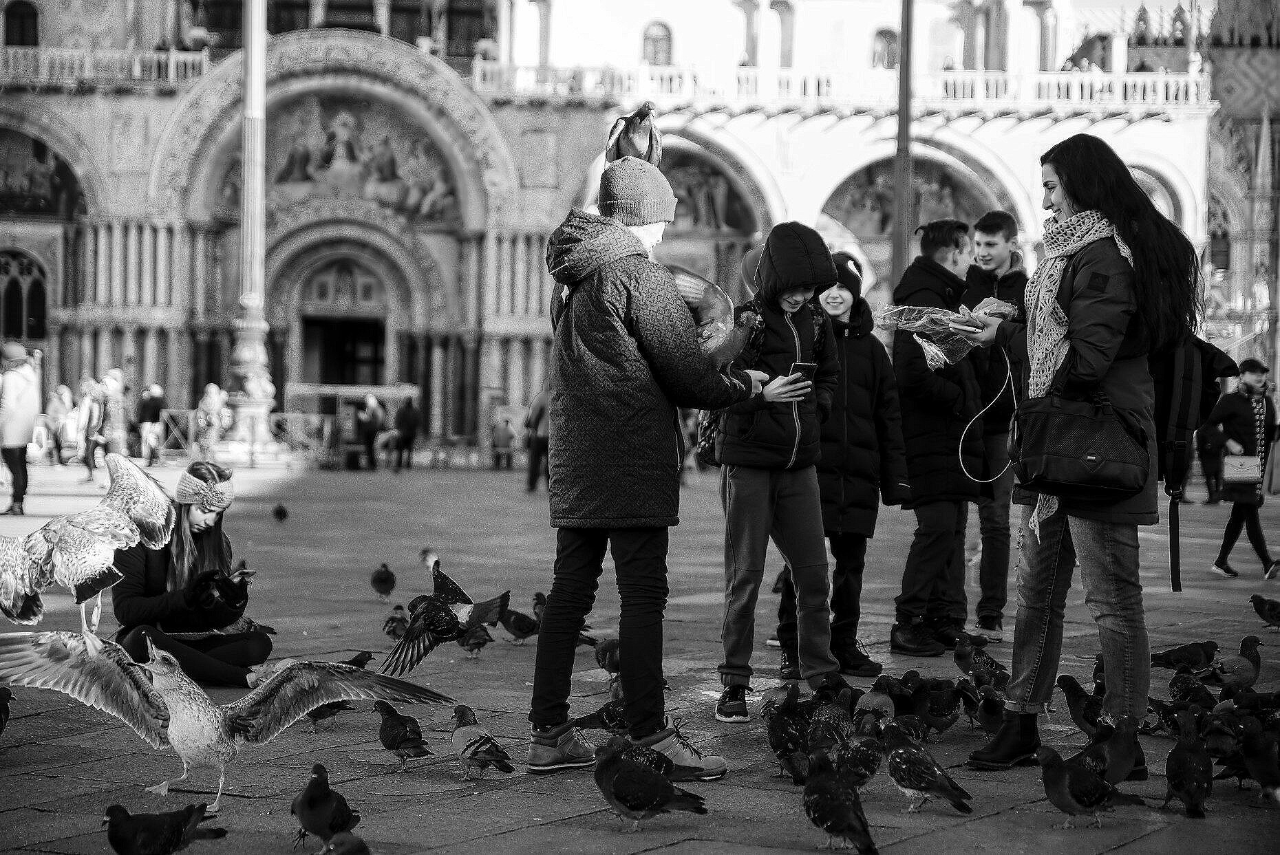Young people feeding doves in St. Mark's square
